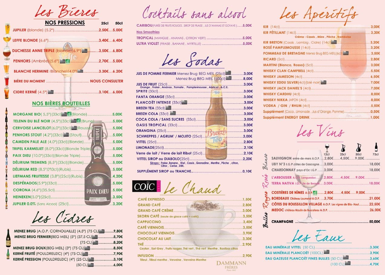 Menu boissons 1 - Bar